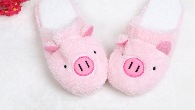 Cute Slippers Women Girls Lovely Pig Home Floor