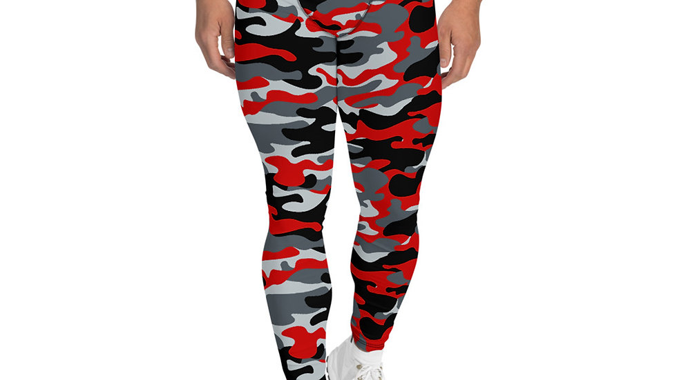 Gray and Red Camo Leggings for Men