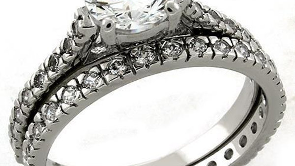 LOAS1301 Rhodium 925 Sterling Silver Ring with AAA