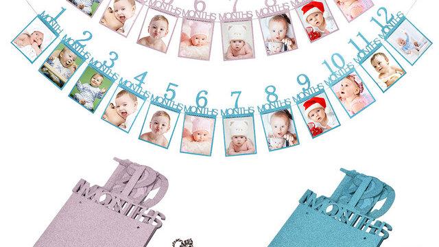 Kids Birthday Gift Decorations 1-12 Month Photo