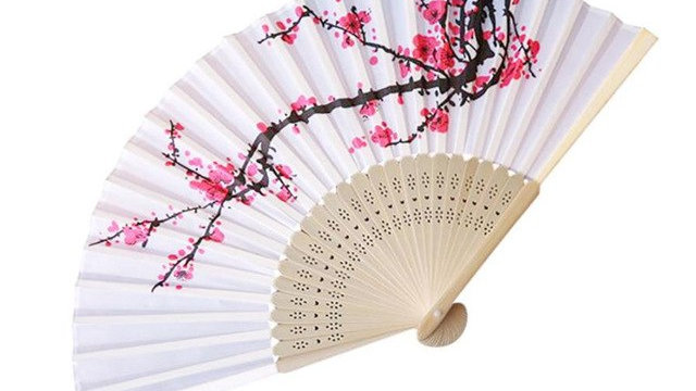 Chinese Ink And Wash Plum Blossoms Cloth Fan Party