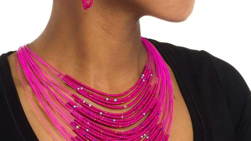 Pink Multi Strand Beaded Handcrafted Necklace (Pikate)
