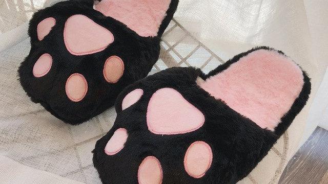 Cute Slippers Women Bear Paw Warm Autumn Winter