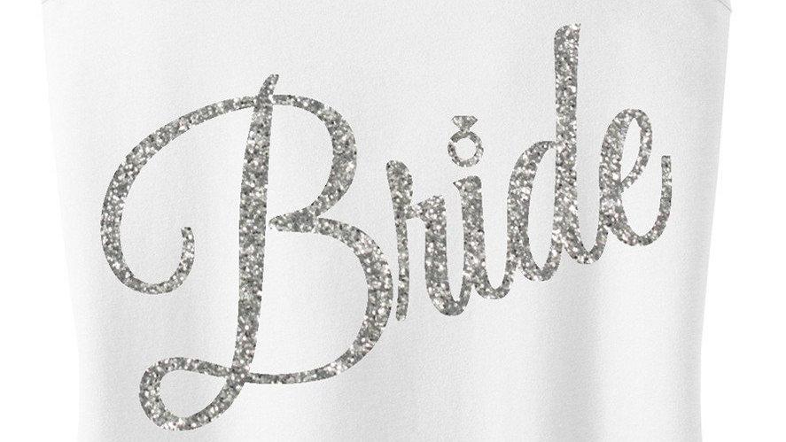 BRIDE Silver Glitter Cursive Tank Top