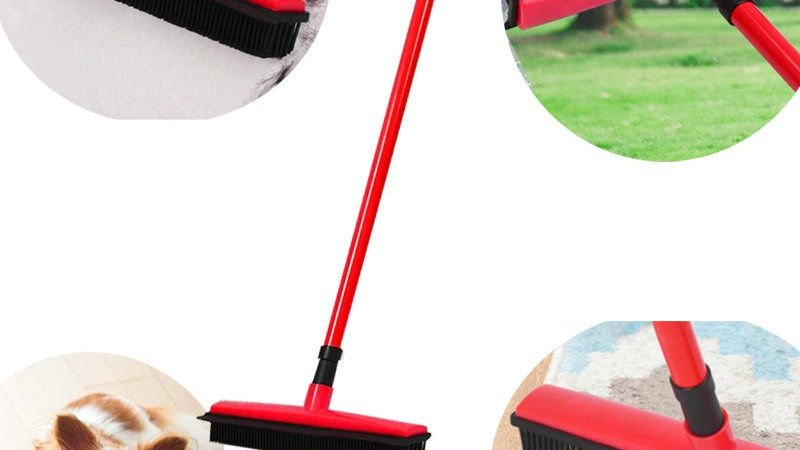 Floor Hair broom Dust Scraper  & Pet rubber Brush