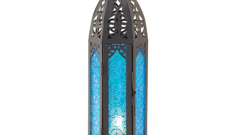 Tall Floret Blue Candle Lantern
