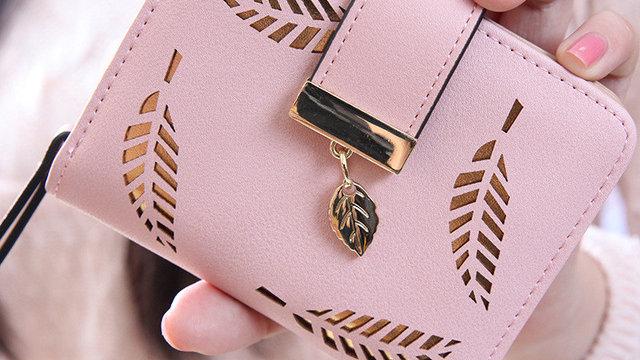 best sale wallet women Leaf Bifold PU Leather