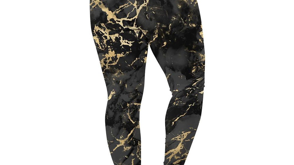 Plus Size Black Gold Marble Leggings