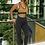 Thumbnail: Black Leopard Fitness Set With Mustard Sports Bra