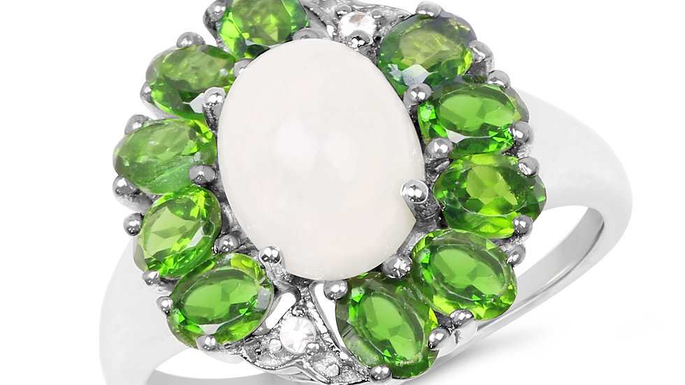 2.93 Carat Genuine Ethiopian Opal, Chrome Diopside & White Topaz .925