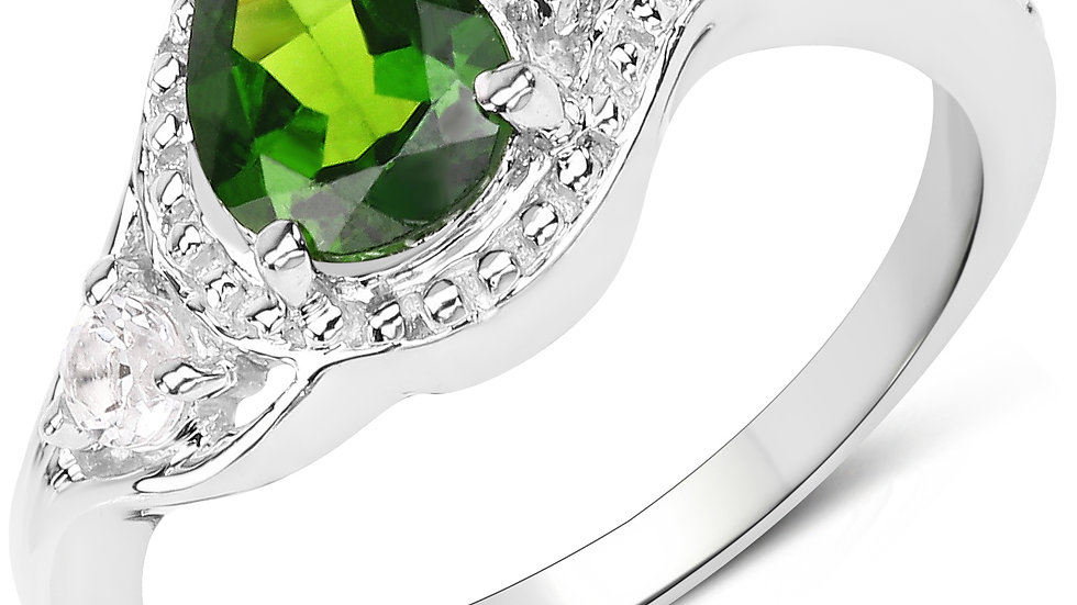 1.30 Carat Genuine Chrome Diopside and White Topaz .925 Sterling