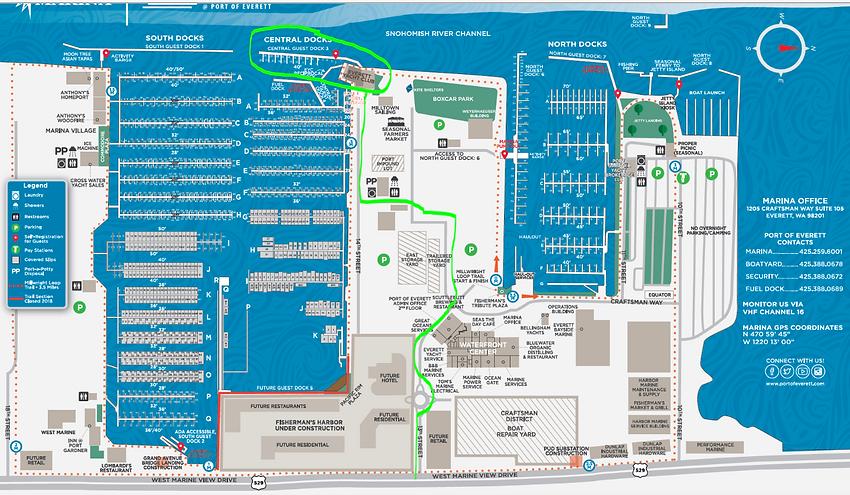 Everett Marina port map