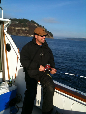 fishing charter boat with Scuttlebutt beer Everett, Washingtont