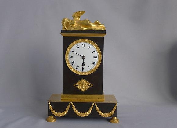 Antique English Regency ormolu and patinated bronze mantel clock signed