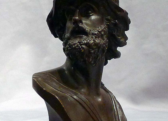 Antique patinated bronze bust of Ajax.