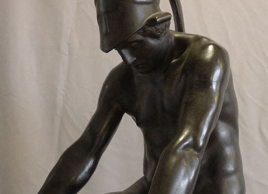 Patinated bronze figure of a Classical soldier by Wilhelm Posoreck