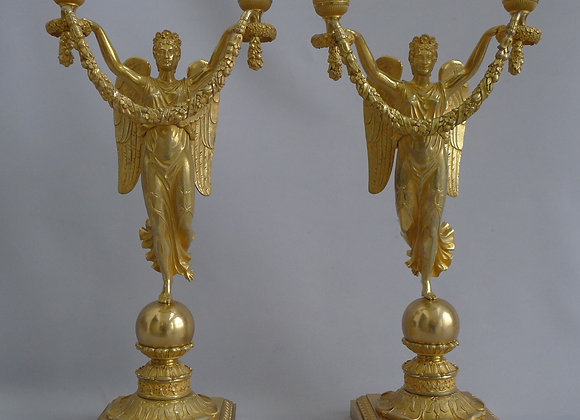 French Empire Ormolu Figural Candelabra