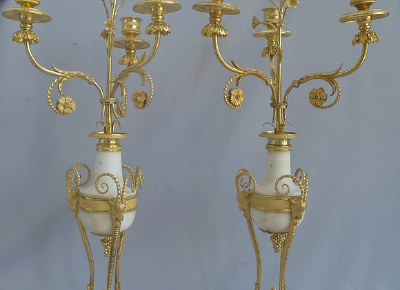 Antique George III Ormolu and Carrera Marble Candelabra