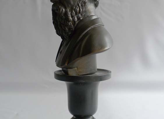Antique English terracotta bust of Michaelangelo on specimen marble base