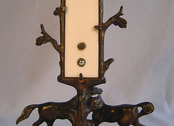 Antique French Grand tour patinated bronze animalier mounted thermometer