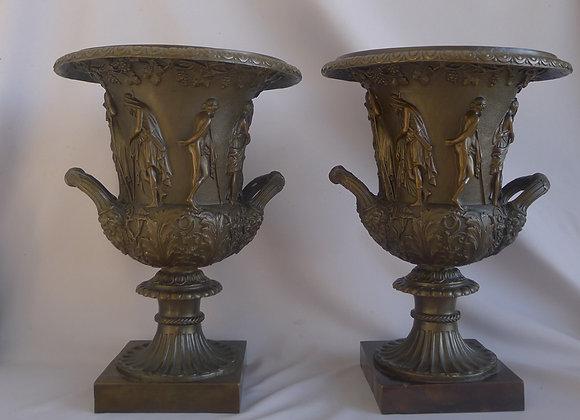 Antique Pair of Patinated Bronze Medici Vases