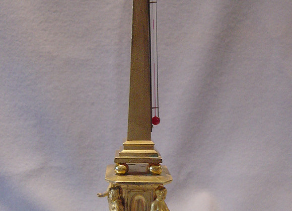 Antique English Neo-Classical form ormolu thermometer.
