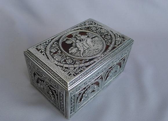 Antique Dutch silver and split agate box or casket