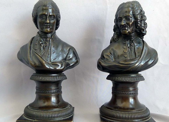 Pair of Antique busts of Rousseau and Voltaire