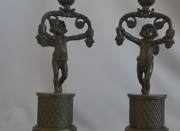 Antique pair of English Regency patinated bronze Candlesticks