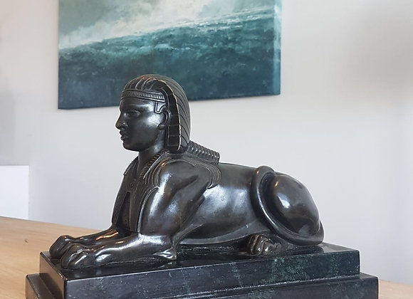 Antique Grand Tour Patinated Bronze Sphinx on stepped Marble base
