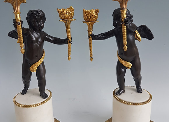 George III or English Regency antique candelabra in ormolu, patinated bronze and