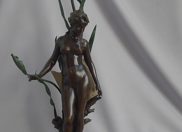 Antique patinated bronze sculpture and lamp signed Aug. Moreau