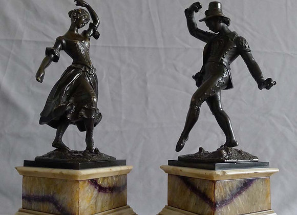 Antique English Regency pair of bronze figures of dancing gypsies on blue john a