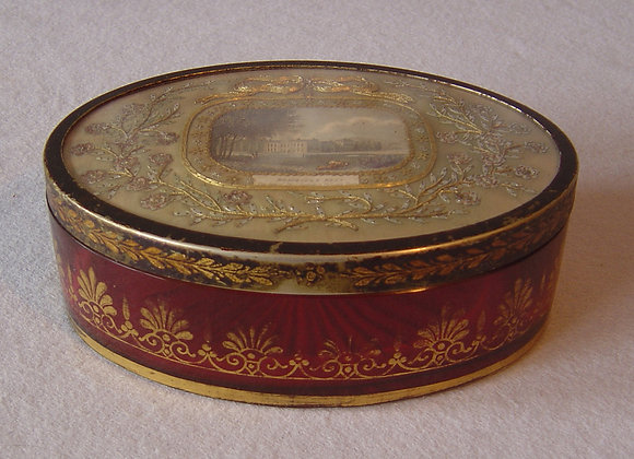 Antique English Regency cranberry glass and toleware box with inset embroidery o