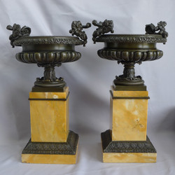 Grand Tour Urns on sienna marble