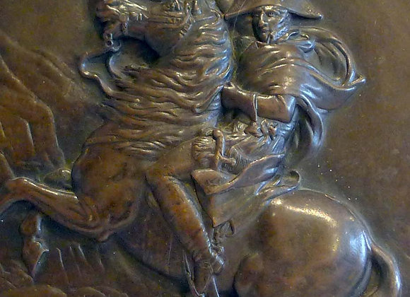 Antique Bronze plaque of Napoleon crossing the Alps after the painting by David