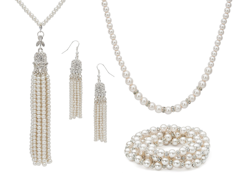 costume pearls, fashion pearls, danecraft pearls, pearl jewelry, white pearls, pearl necklace, pearl earrigs, pearl bracelet