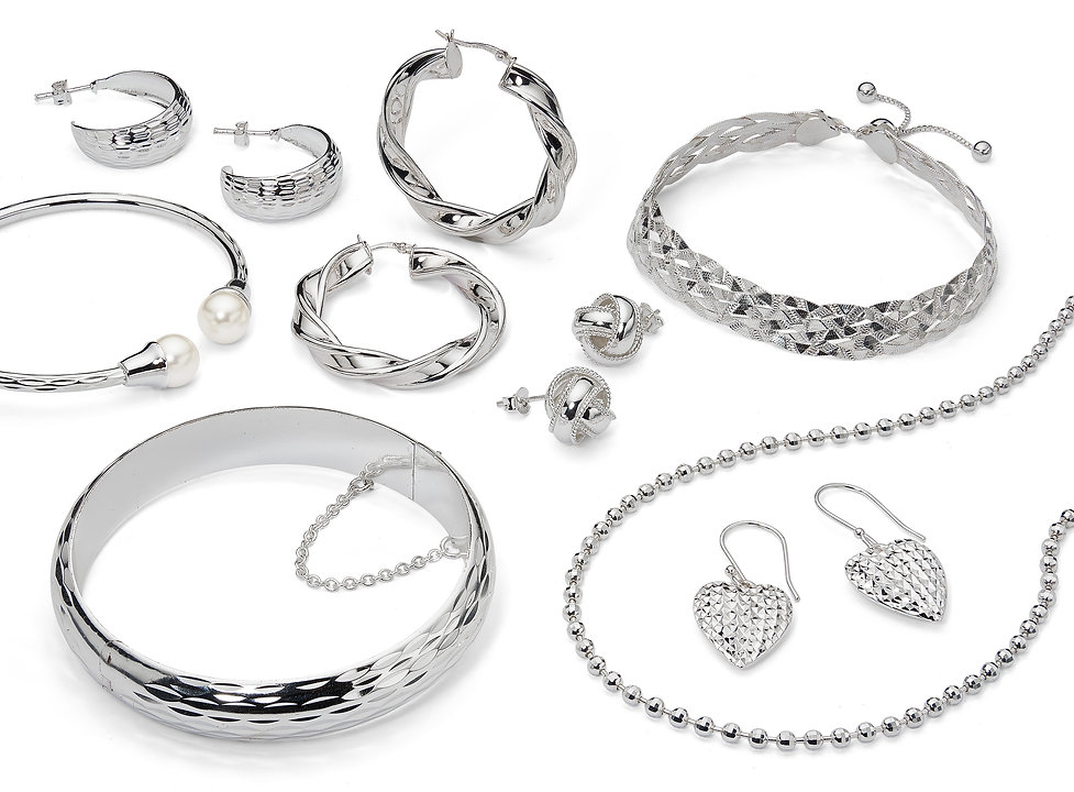 pure 100, pure 100 by danecraft, silver jewelry, pure 100 hoops, pure 100 chain, pure 100 earrings, pure 100 bangles, made in italy
