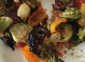 The more veggies the better... roasted vegetable cauliflower pizza