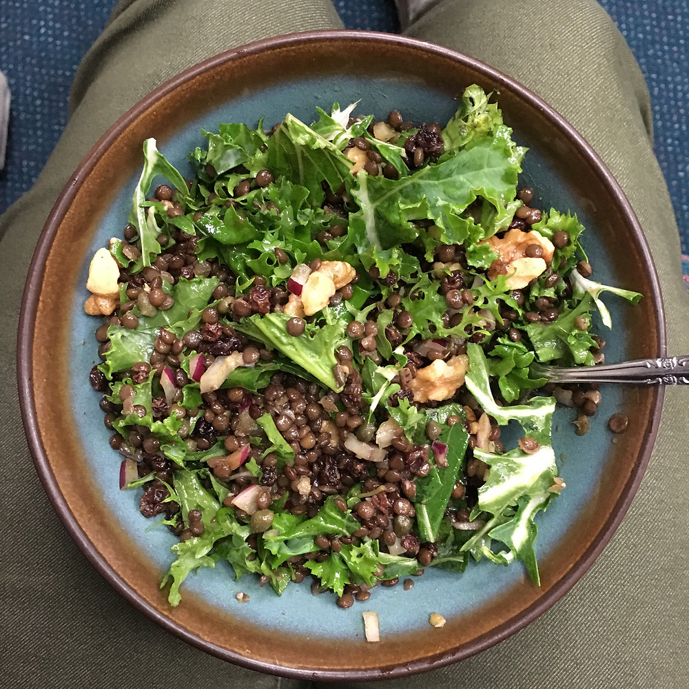 lentil salad with greens and walnuts