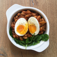 Creamy homemade baked beans