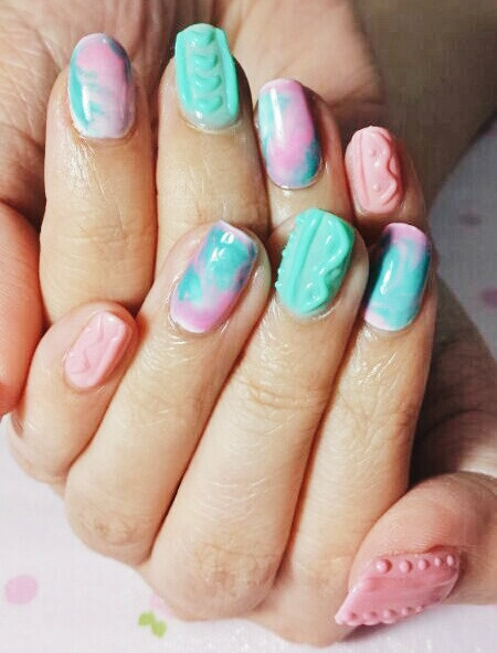 Paddle Pop Knitted Nails by Niu Nails
