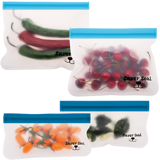 Saver Seal Reusable Storage Bags (2x Lunch & 2x Snack)