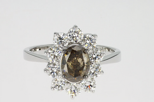 Outlet oval smokey star ring 18kt gold