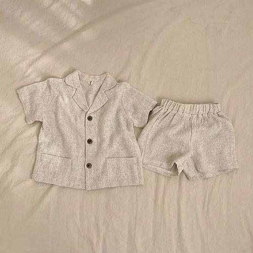 Cream Linen Shorts and Tee Set