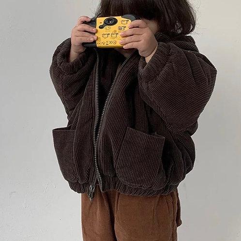 Brown Corduroy Hooded Coat