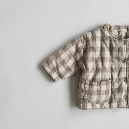 Gingham Quilted Puffer Jacket (beige)