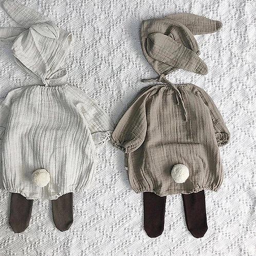 White Rebecca Rabbit Romper And Bonnet Set