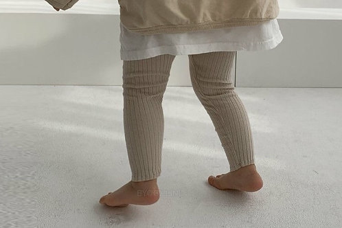 Lilou Ribbed Band Leggings (beige)