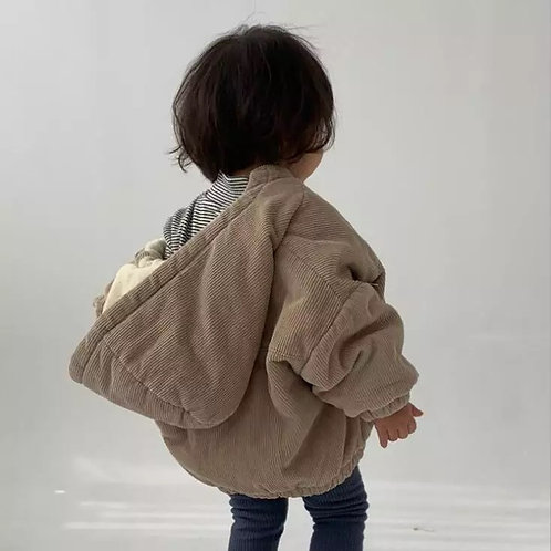 Beige Corduroy Hooded Coat